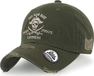Ililily Pirate Embroidered Cotton XL Baseball Cap Distressed Vintag Trucker Hat, Olive
