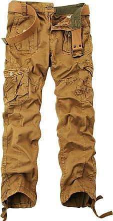 OCHENTA Mens Cotton-Washed Casual Cargo Trousers 3380 Soil Yellow Size 29
