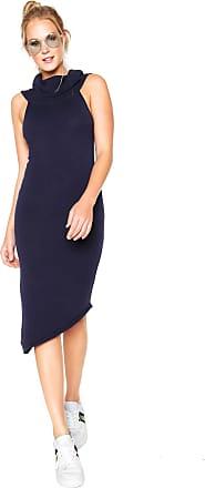 97ffacc2f Calvin Klein Vestido Tricot Calvin Klein Midi Ombro-a-ombro Azul