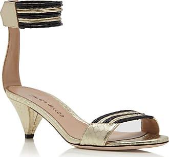 Tamara Mellon Cleo Black Elaphe Sandals, Size - 35