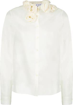 Gloria Coelho Camisa seda com rosas na gola - Branco