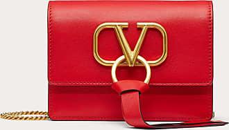 Valentino Garavani Valentino Garavani Vring Calfskin Pouch With Chain Strap Women Red Calfskin 100% OneSize