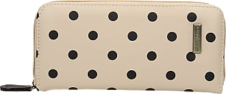 Swankyswans Bella Polka Dot Long Zip around Wallet Cream Black Dot
