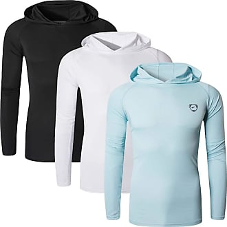 Jeansian Mens 3Pack UPF 50+ Sun Protection Hoodie Long Sleeve Performance Hiking Running Fishing T-Shirt Tee Shirt Tshirt LA271_PackD_L