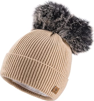 4sold Miki Colour Womens Girls Winter Hat Wool Knitted Beanie with Double Pom Pom Cap Ski Snowboard Bobble (Megi Beige)