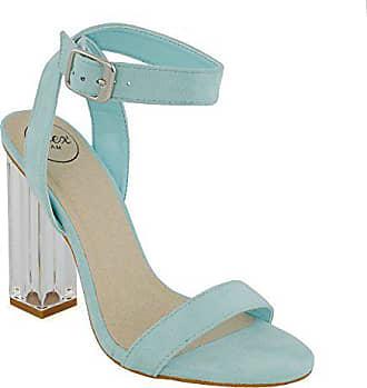 367d2237953948 ESSEX GLAM Damen Pastell Blau Wildlederimitat Durchsichtige Sandalen  Perspex Promi Knöchelriemchen Absatzschuhe EU 40