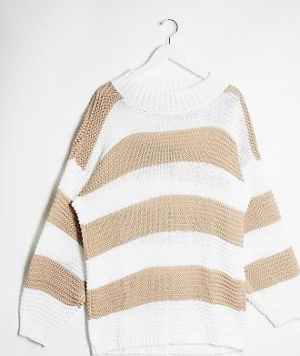 In The Style x Billie Faiers stone stripe chunky oversized jumper dress-Multi