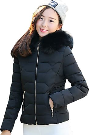 ZhuiKun Womens Girls Faux Fur Hooded Parka Jacket Quilted Padded Down Short Winter Puffer Slim Coat Overcoat Black S