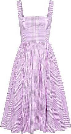 Lela Rose Lela Rose Woman Pleated Gingham Shell Dress Lavender Size 14