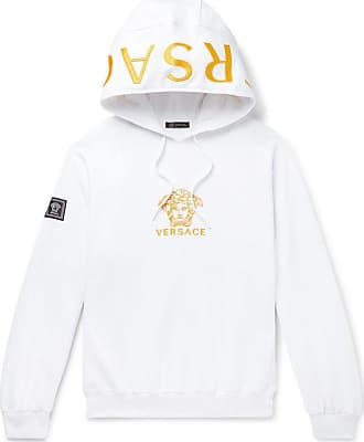 Versace Oversized Logo-embroidered Loopback Cotton-jersey Hoodie - White