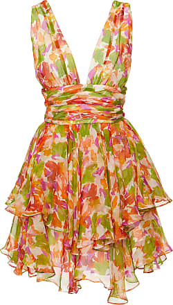 Caroline Constas Paros Printed Silk-Blend Chiffon Mini Dress