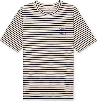 Loewe Logo-embroidered Striped Cotton And Linen-blend Jersey T-shirt - Navy