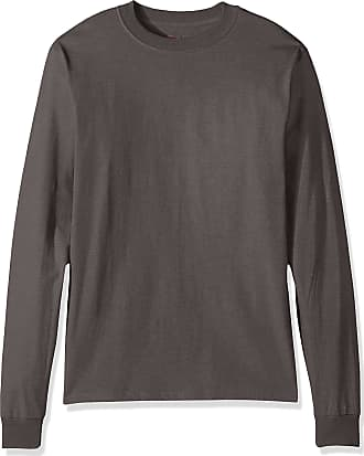 Hanes Mens Beefy Long Sleeve Shirt, Smoke Gray, XL