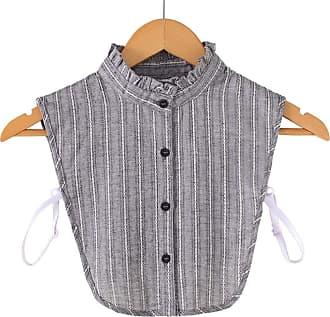 Xian Women Gray Cotton Fake Collar Vertical Stripe Lace Pattern Detachable Half Shirt
