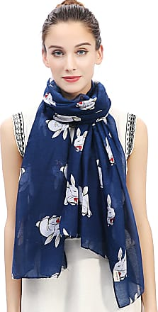 Lina & Lily Rabbit Bunny Print Womens Scarf Oversize (Blue)