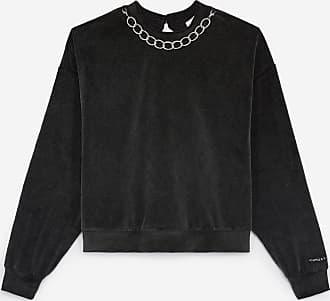 The Kooples Grey velvet sweatshirt with The Kooples logo - WOMEN