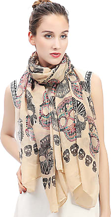 Lina & Lily Sugar Skull Print Womens Large Scarf Lightweight (Tan)