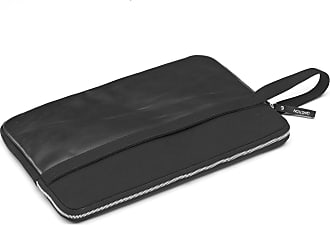 Qwstion Laptop-Hülle Schwarzes Leder Leinwand 13