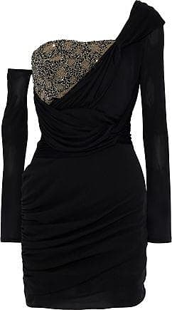 c1e35a801265 Roberto Cavalli Roberto Cavalli Woman One-shoulder Bead-embellished Ruched  Silk Mini Dress Black