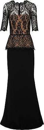 Rachel Gilbert Rachel Gilbert Woman Evelyn Lace And Crepe Peplum Gown Black Size 0