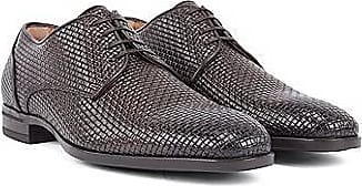 BOSS Italian-made Derby shoes in woven-embossed calf leather