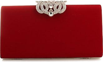 YYW Evening Bag, Womens Fashion Designer Crystal Diamante Clutch Bag Ladies Bridal Wedding Party Purse Handbag (Red)