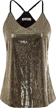 Grace Karin Women Spaghetti Strap V-Neck Vest Tops Summer Shiny Party Club T Shirt Gold XXL