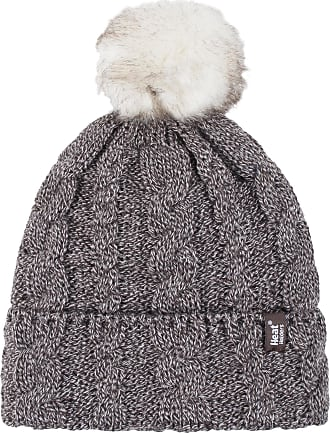 Heat Holders Ladies 1 Pack Heat Weaver Cable Knit Pom Pom Hat - Fawn - One Size