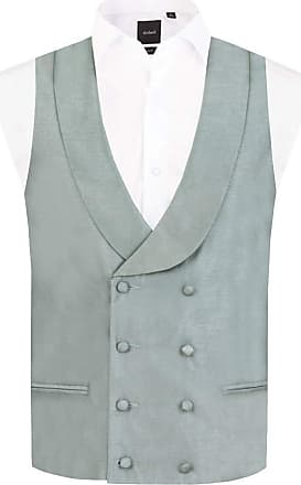 Dobell Mens Silver Waistcoat Regular Fit Double Breasted Shawl Lapel Dupion-4XL (58-60in)