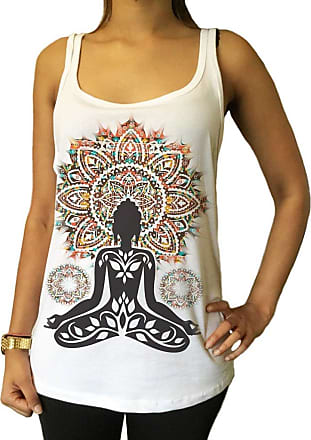Irony Jersey Tank Top Aztec Yoga Top Buddha Chakra Meditation Zen Hobo Boho Print JTK-A20 (Medium)