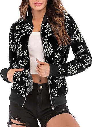 EmilyLe Womens Floral Print Bomber Jacket Long Sleeve Zipper Baseball Casual Outwear Fashion Tops (2XL, Petal Black)