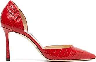 Jimmy Choo London Esther 85 Crocodile-effect Leather Dorsay Pumps - Womens - Red