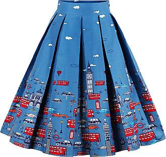 EUDOLAH Womens Vintage Floral Swing Full Circle Pleated Skirts GreenCar 2XL