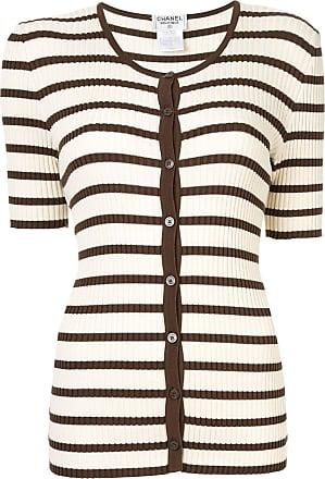 Chanel striped pattern cardigan - White