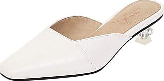 Mediffen Dieenia Mules Women Casual Kitten Heel Mules Square Toe Summer Sandals Party White Size 10.5 UK/48