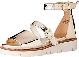 Nine West Womens SATORIA Synthetic Flat Sandal, Light Gold, 7.5 M US