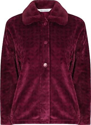 Slenderella Ladies Bed Jacket Faux Fur Collar Super Soft Fleece Button Up House Coat Large (Damson)