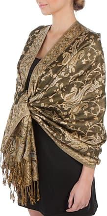 Sakkas Double Layer Jacquard Paisley Pashmina Shawl/Wrap / Stole, One Size, Dark Olive Green / Champagne