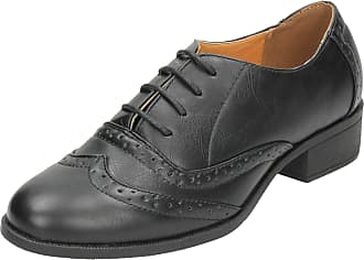 Spot On Ladies Mid Heel Lace Up Brogue Shoes - Black Synthetic - UK Size 8 - EU Size 41 - US Size 10