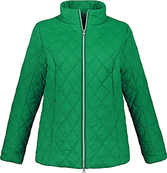 Ulla Popken Womens Plus Size Fleece Scarf and Diamond Quilted Jacket Green 20/22 719892 45-46+