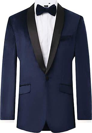 Dobell Mens Navy Tuxedo Dinner Jacket Regular Fit Velvet Contrast Shawl Lapel-40R