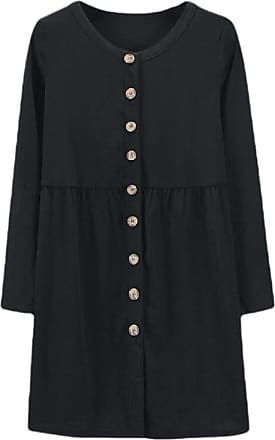 Generic Fashion Women Long Sleeve Solid Button Down Knit Ribbed Cardigans Outwear Black XS