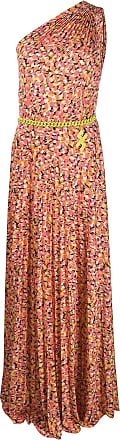 Elisabetta Franchi floral chain detail pleated gown - Pink