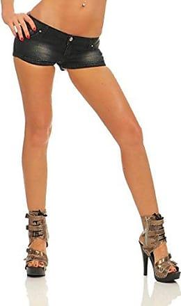 Damen Lackleder PU Kurze Hose Hotpants Shorts Schmal Geschnittene Hose