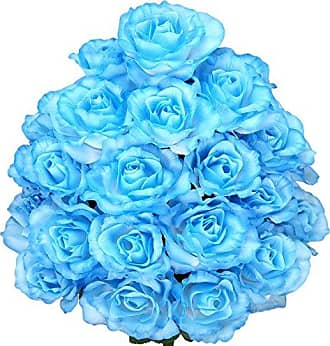 Admired by Nature GPB0399-LT.BL 24 Stems Artificial Blooming Rose Flowers, Light Blue