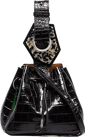 Ganni small crocodile-effect bracelet bag - Black