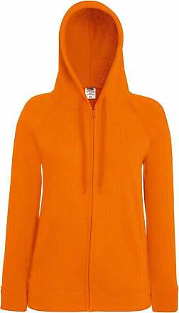 Fruit Of The Loom Womens Fit Full Zip Hoodie Sweatshirt Orange XXL
