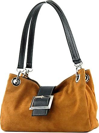 modamoda.de ital. Ladies Handbag Tote Satchel leather bag Suede Small TL02, Colour:Camel