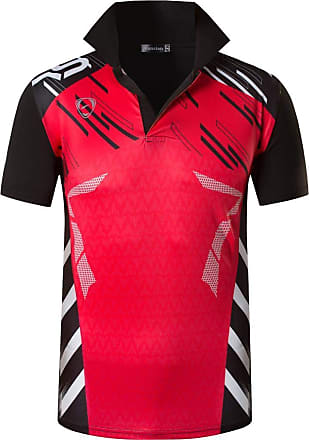 Jeansian Mens Sports Breathable Quick Dry Short Sleeve Polo T-Shirts Tee Tops Running Training LSL293 Red XXL