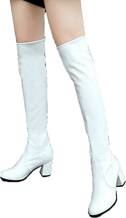 Vimisaoi Women Patent Leather Round Closed Toe Side Half Zipper Chunky Platform Over Knee Long Boots